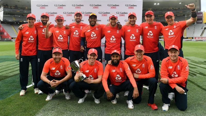 England celebrate their T20 series win over New Zealand