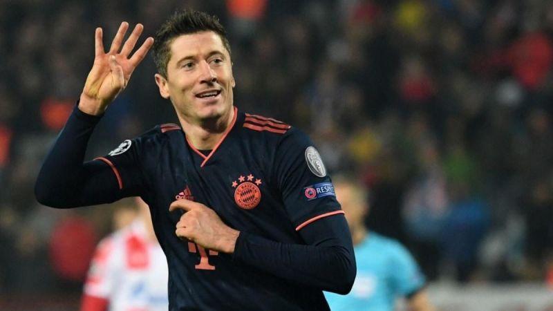 Robert Lewandowski exults after scoring 4 goals at Crvena Zvezda