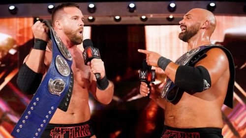 The Revival with the SmackDown Tag Team Titles