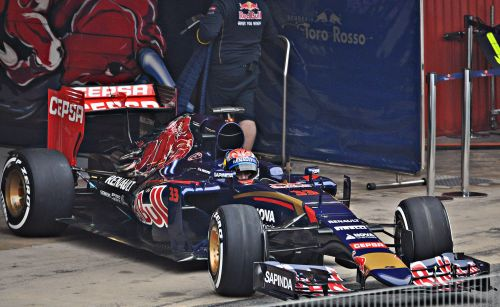 The youngest F1 driver ever, steering his Toro Rosso out of the garage in 2015