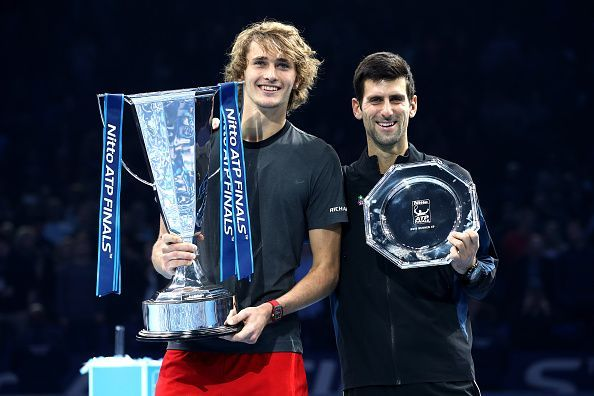 Alexander Zverev (L) and Novak Djokovic at the 2018 ATP Finals
