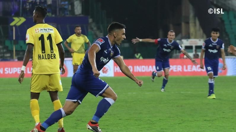 Andre Schembri celebrates after scoring. Photo courtesy ISL