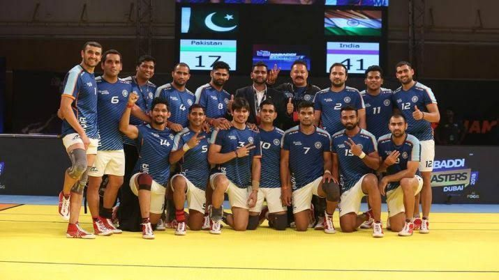 Indian Kabaddi team after defeating Pakistan at the Kabaddi Masters 2018 in Dubai