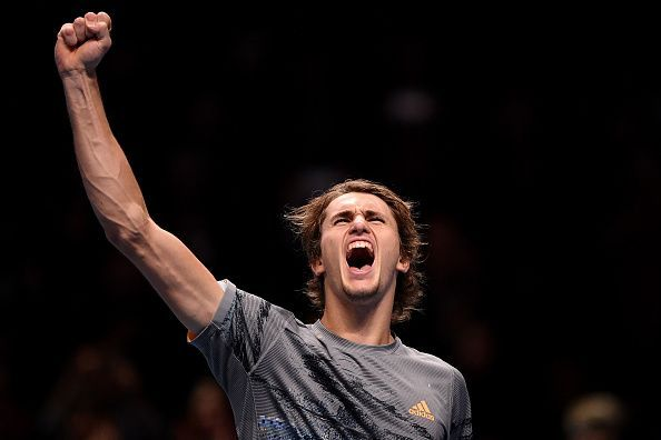 A triumphant Alexander Zverev, through to his second consecutive semi-final in London.