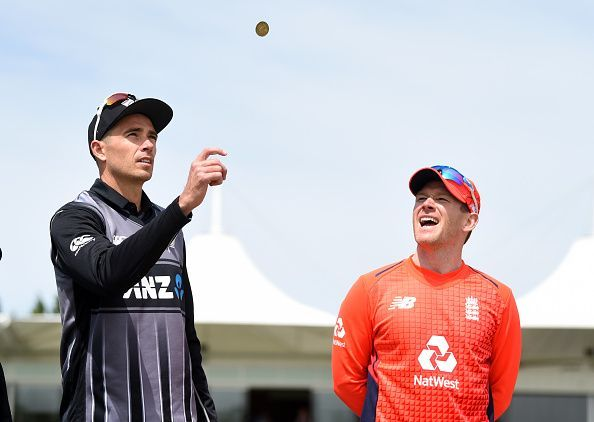 Tim Southee and Eoin Morgan during the coin toss