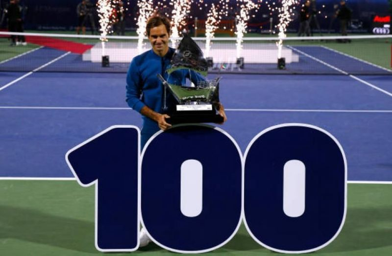 Federer celebrated his 100th title in Dubai