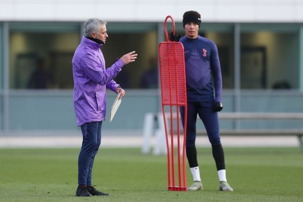 Jose taking charge of his first Tottenham training session on Wednesday afternoon