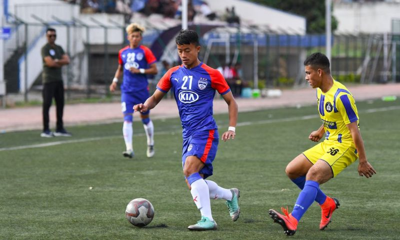 BFC (3): Bengaluru FC miefielder Emanuel L. in action against ASC in the BDFA Super Division League at the Bengaluru Football Stadium, on Wednesday