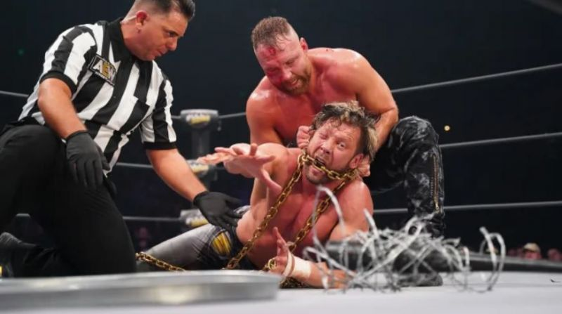 Moxley and Omega waged a war at Full Gear (Photo Credit: Lee South/AEW)