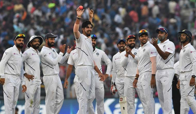 Ishant celebrates after taking a five wicket haul against Bangladesh