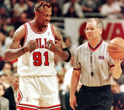 Dennis Rodman infamously head-butted referee Ten Benhardt during the 1995-96 regular season.