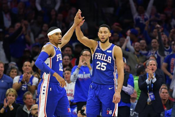 Ben Simmons (r) will need to step up for the 76ers