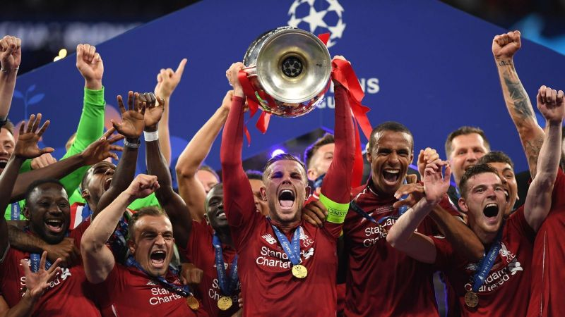 Henderson with the Champions League trophy.