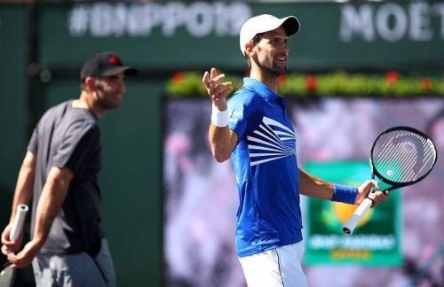 Djokovic and Sampras (behind).