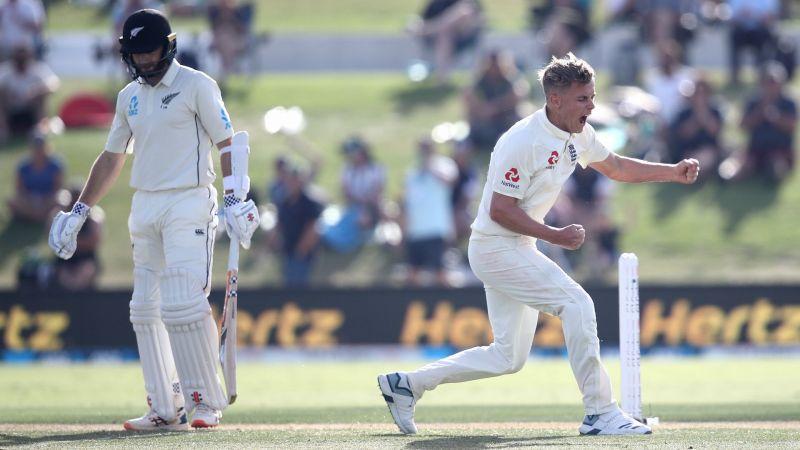 England bowler Sam Curran celebrates the wicket of New Zealand skipper Kane Williamson