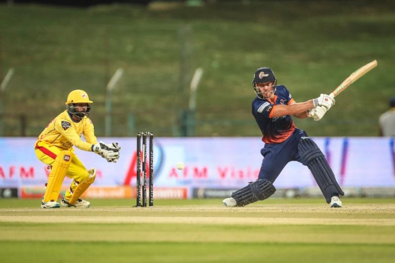 Chris Lynn is captured in action during his 91-run knock against Team Abu Dhabi