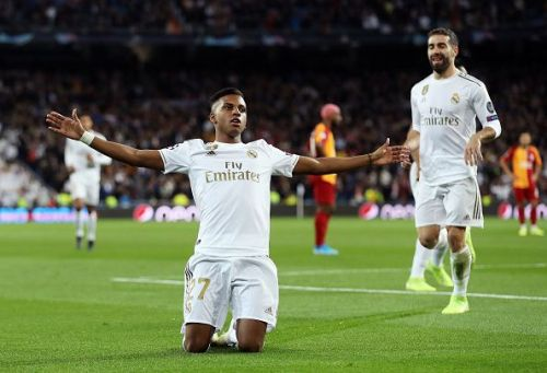 Rodrygo celebrates one of his three goals as Real Madrid thumped Galatasaray on MD4 of this year's UCL