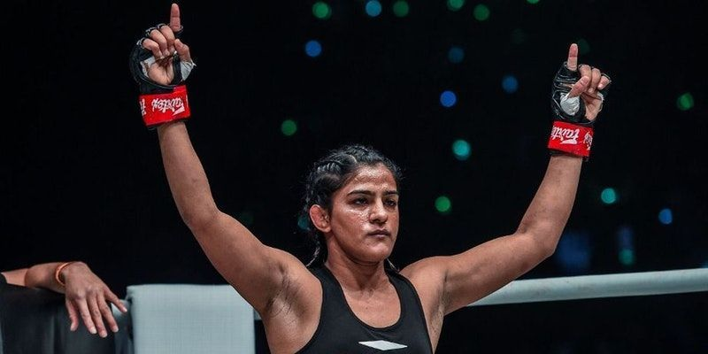 Ritu Phogat following her debut win at ONE FC. Courtesy: yourstory.com