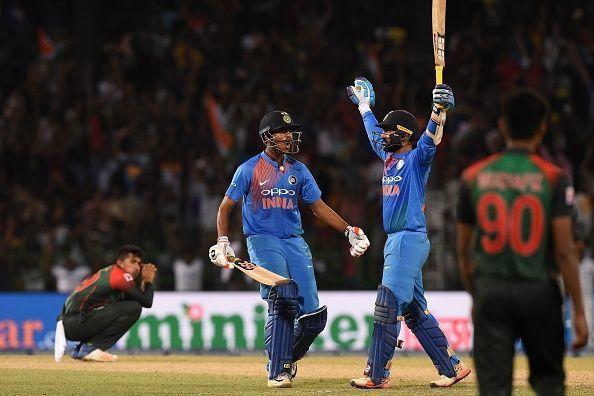 Dinesh Karthik celebrates after his heroics in Nidahas Trophy final.