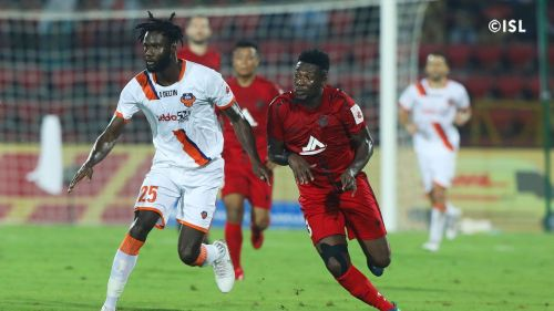 Gyan got himself a goal but couldn't help NorthEast United FC secure all three points (Image courtesy: ISL)