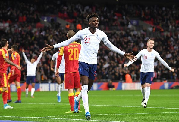 Tammy Abraham scored his first international goal as England thumped Montenegro 7-0