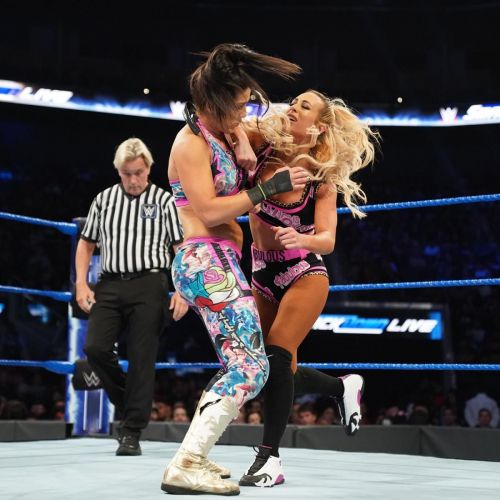 Bayley and Carmella in tag team action on Smackdown. Source: WWE.com