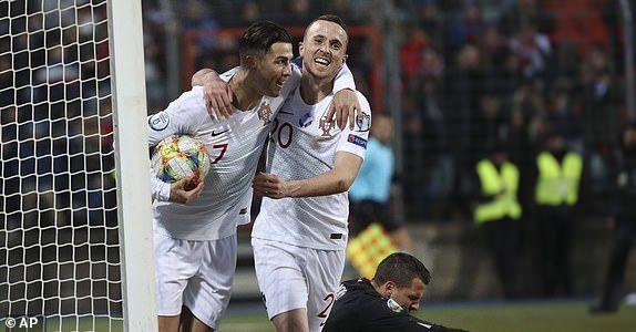 Cristiano Ronaldo celebrates scoring his 99th international goal for Portugal.