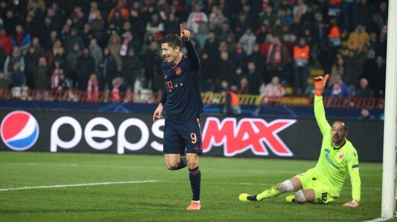 Robert Lewandowski rejoices after completing his hat-trick at Crvena Zvezda