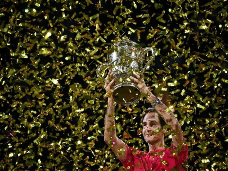 Federer hoists aloft his 10th Basel title