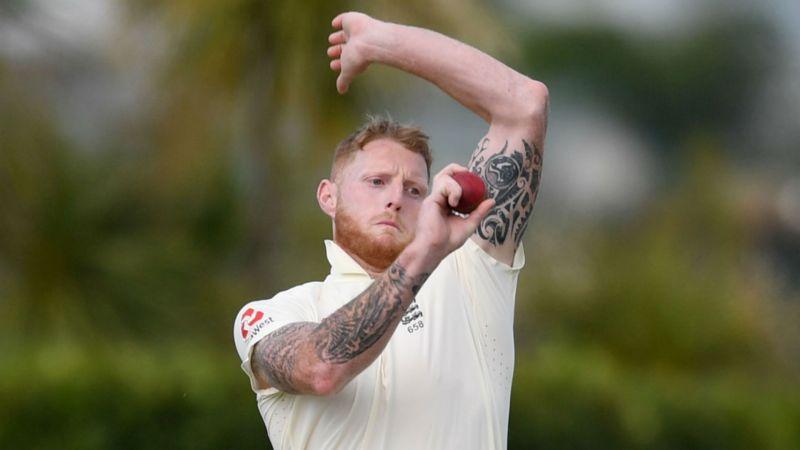 Ben Stokes bowls during England