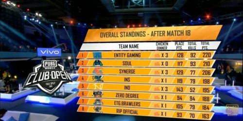 Overall Standings of PMCO 2019 South Asia Finals