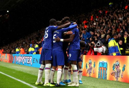 Chelsea celebrate their second of the evening, which just about proved to be enough to beat Watford