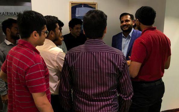 Karthik Ranganathan with the GISB students