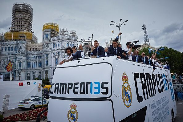 Real Madrid celebrate after victory the Champions League final against Liverpool in 2018