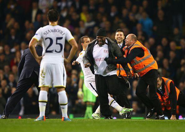 A bizarre pitch invasion marred Spurs