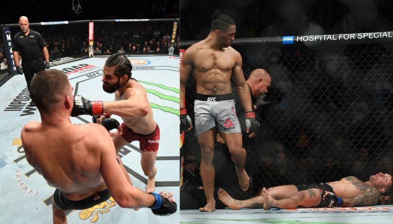 Left: Jorge Masvidal vs Nate Diaz; Right: Kevin Lee walks away after knocking out Gregor Gillespie.
