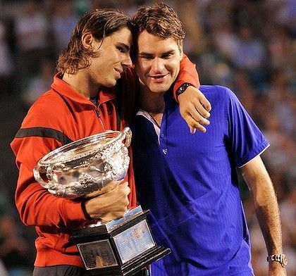 Nadal consoles Federer after a riveting five-setter in the 2009 Australian Open final