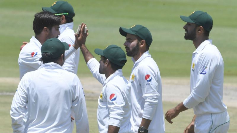 Pakistan celebrate a Hasan Ali wicket