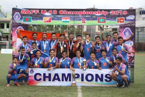 India U-19 team pose with their medals after winning the SAFF Championship