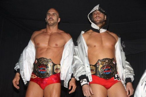 The Swiss Cyborg and The Knockout Artist as ROH World Tag Team Champions