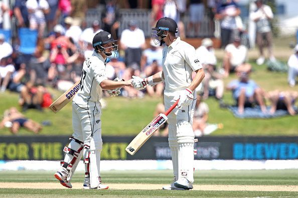 BJ Watling (left) and Mitchell Santner (right) shared a 261-run stand for the seventh wicket