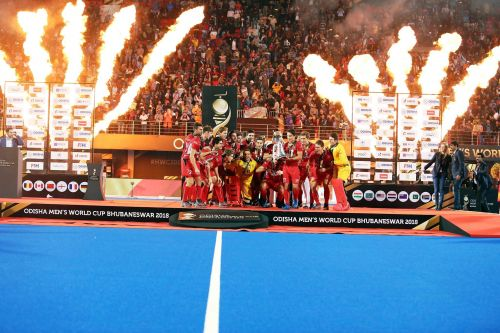 Belgium Men's Hockey Team pose with the World Cup trophy after defeating The Netherlands in the Final match of the 2018 Men's Hockey World Cup in Bhubaneswar, India.