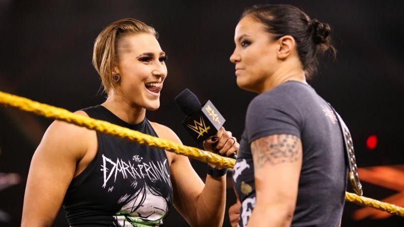 Rhea Ripley confronting Shayna Baszler