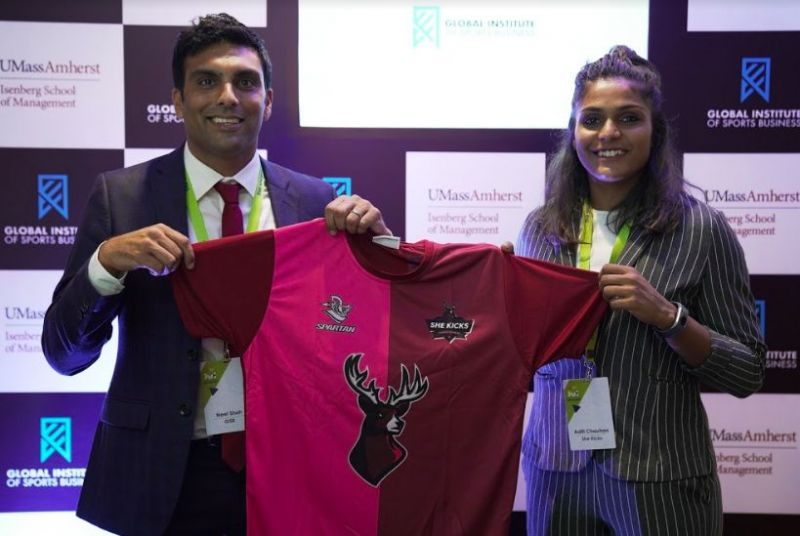 GISB Program Director - Neel Shah with Indian National Player and Founder of She Kicks FA - Aditi Chauhan during the partnership announcement