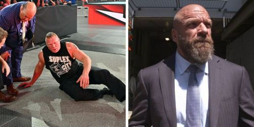 Brock Lesnar on RAW (left); Triple H (right)