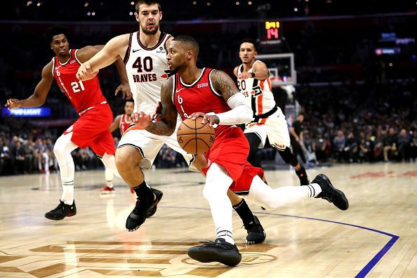Damian Lillard in action for the Blazers.