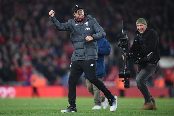 Liverpool FC v Manchester City - Jurgen Klopp celebrates!