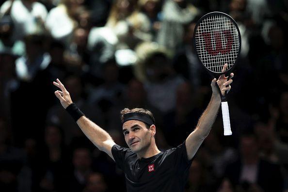 Roger Federer is ecstatic after his win over Novak Djokovic