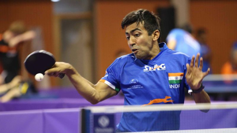 Harmeet Desai in action (PC: ITTF)