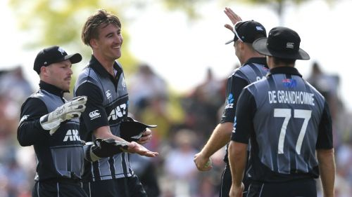 New Zealand celebrate the wicket of James Vince